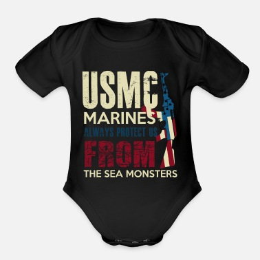 Marine MARINES - Organic Short-Sleeved Baby Bodysuit