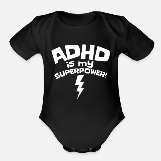 Meme Baby Clothing - ADHD is My Superpower - Organic Short-Sleeved Baby Bodysuit black