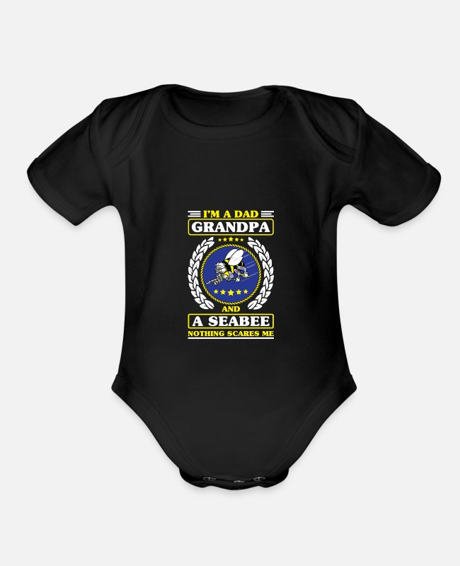 Navy Baby One Pieces - Us Navy Shirt Seabee Patch For Veterans - Organic Short-Sleeved Baby Bodysuit black