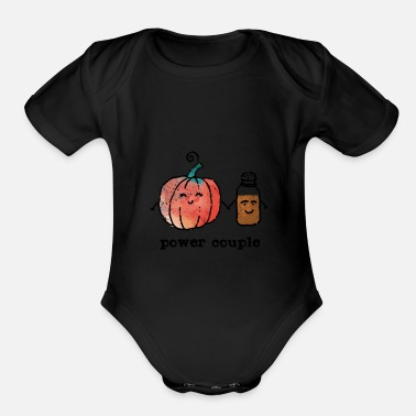 Power Couple Cute Pumpkin And Spice - Organic Short-Sleeved Baby Bodysuit