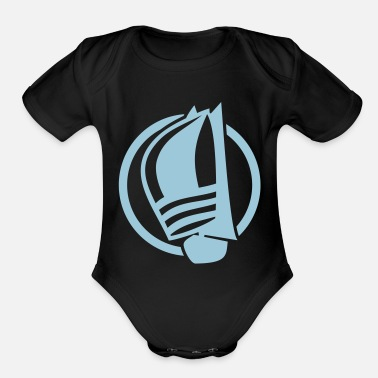 Sailing Boat Sailing logo with sailing boat - Organic Short Sleeve Baby Bodysuit