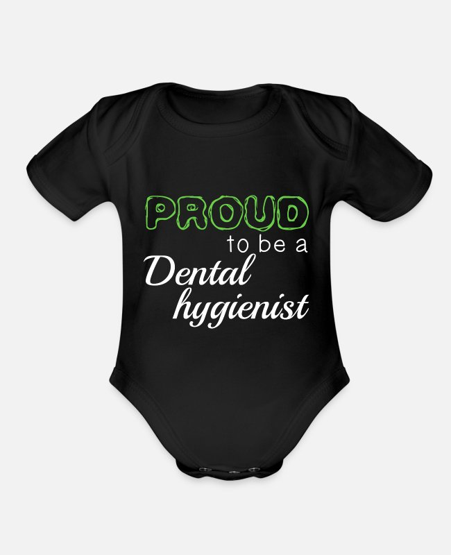 Hygienist Baby One Pieces - Proud To Be A Dental Hygienist - Organic Short-Sleeved Baby Bodysuit black