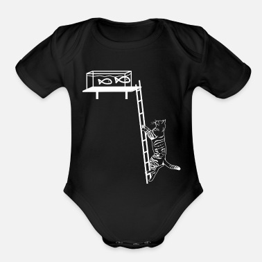 Aquarium Cat climb - Organic Short Sleeve Baby Bodysuit