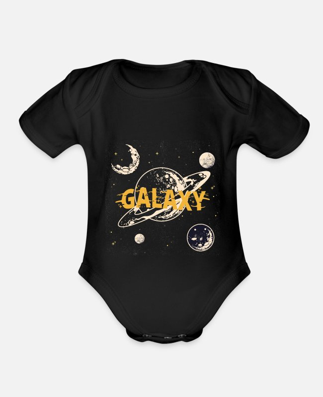 Design Baby One Pieces - galaxy - Organic Short-Sleeved Baby Bodysuit black