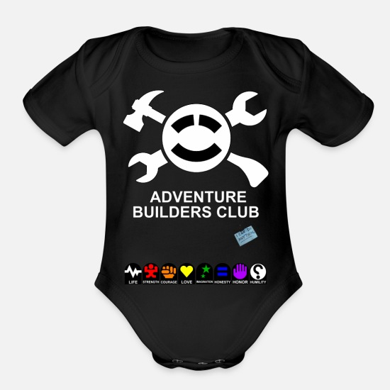 Adventure Baby Clothing - Adventure Builders Club - Organic Short-Sleeved Baby Bodysuit black