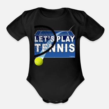 Let's Play Tennis T Shirts, Blue - Organic Short-Sleeved Baby Bodysuit
