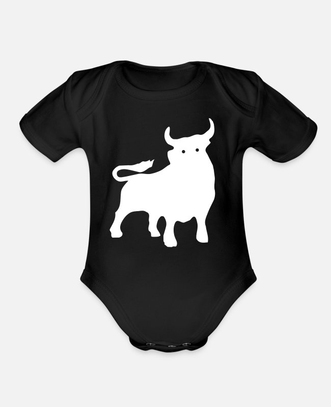 Animal Rescue Baby One Pieces - buffalo - bison - Organic Short-Sleeved Baby Bodysuit black