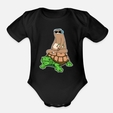 Ride Turtle Sloth Riding Turtle with Taco - Organic Short-Sleeved Baby Bodysuit