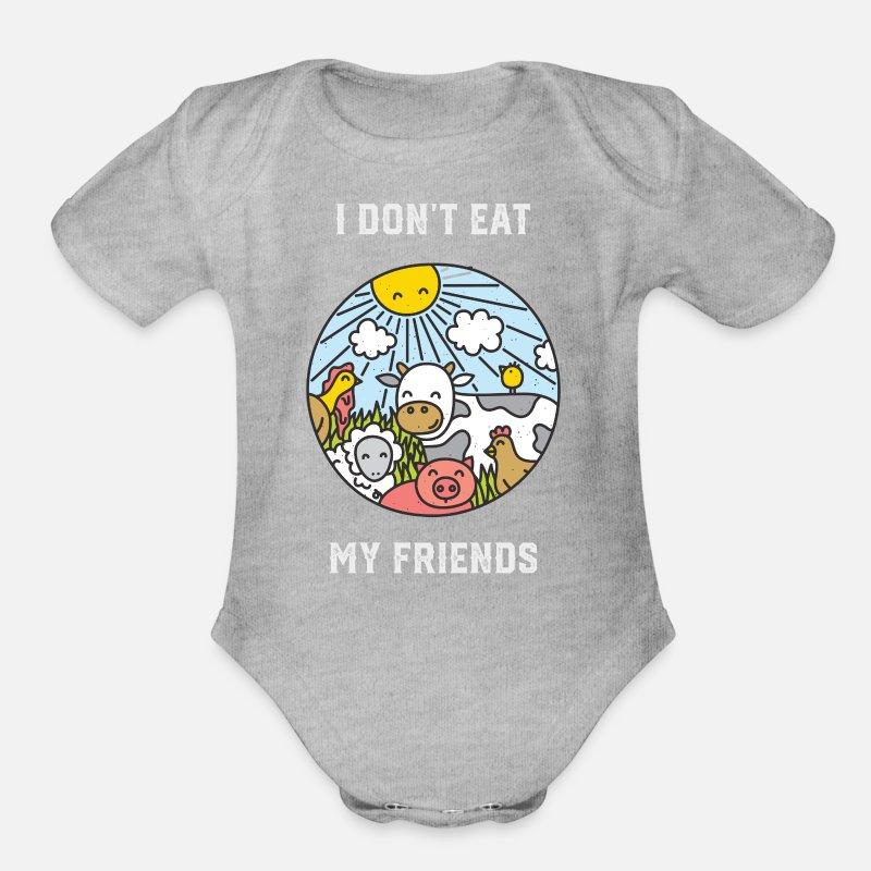 522c2d889 I Don't Eat My Friends - Funny Vegan Vegetarian Organic Short-Sleeved Baby  Bodysuit   Spreadshirt