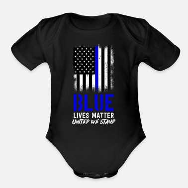 Line American Flag,Thin Blue Line,Gift,Gift Idea,Police - Organic Short-Sleeved Baby Bodysuit