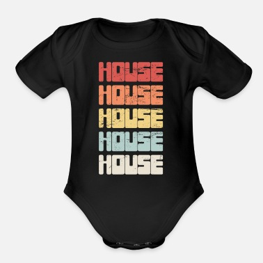 House Vintage HOUSE Music Text - Organic Short-Sleeved Baby Bodysuit