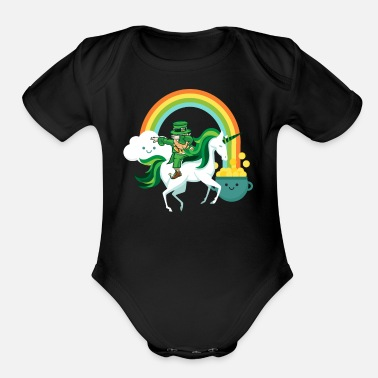 Day Funny St Patricks Day Leprechaun Party gift Paddy - Organic Short-Sleeved Baby Bodysuit