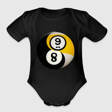 Yin Yang Billiard Pool Balls Eight And Nine - Organic Short Sleeve Baby Bodysuit
