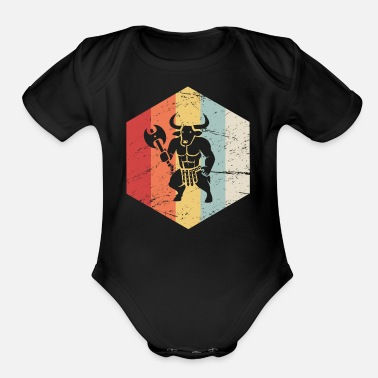 Mythology Retro Vintage Greek Mythology Minotaur Icon - Organic Short-Sleeved Baby Bodysuit