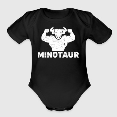 Distressed Greek Mythology Minotaur - Organic Short Sleeve Baby Bodysuit