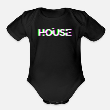 Music Retro Glitch House Music | EDM Rave - Organic Short-Sleeved Baby Bodysuit