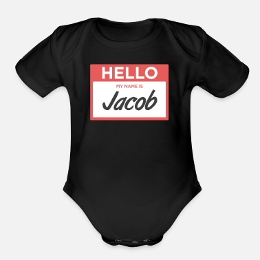 Tag Jacob | Funny Name Tag - Organic Short-Sleeved Baby Bodysuit