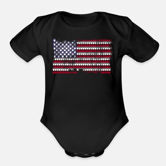 Kettlebell Baby Clothing - Patriotic Kettlebell T shirt - Organic Short-Sleeved Baby Bodysuit black