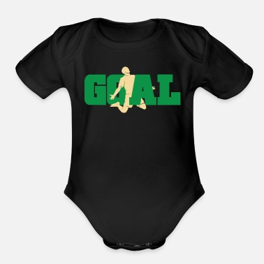 Hits Football Goal - Organic Short-Sleeved Baby Bodysuit