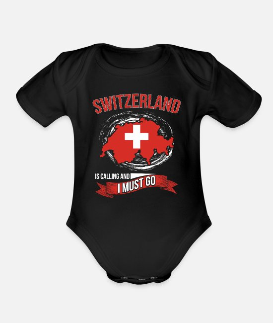 Mountains Baby One Pieces - Switzerland - Organic Short-Sleeved Baby Bodysuit black