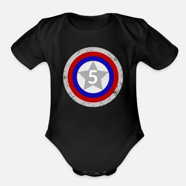 Captain 5th Birthday Shield - Organic Short-Sleeved Baby Bodysuit