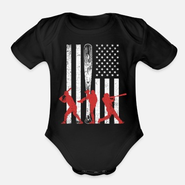 Sports Baseball vintage USA flag design team sport - Organic Short-Sleeved Baby Bodysuit