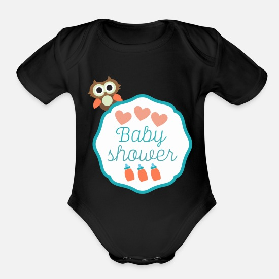 Shower Baby Clothing - Baby Shower - Organic Short-Sleeved Baby Bodysuit black