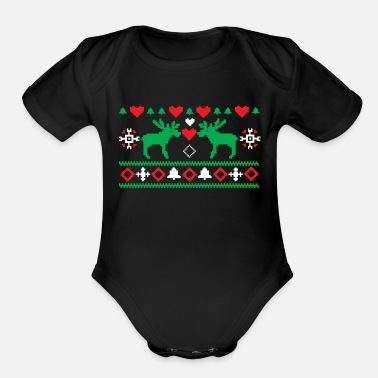 Christmas Love Christmas Ugly - Organic Short-Sleeved Baby Bodysuit