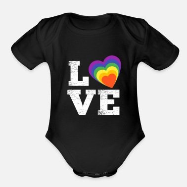 Rainbow heart love is love - Organic Short-Sleeved Baby Bodysuit