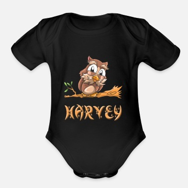 Harvey Harvey Owl - Organic Short Sleeve Baby Bodysuit