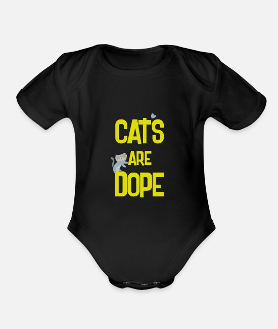 Cats Baby One Pieces - cats are dope - Organic Short-Sleeved Baby Bodysuit black