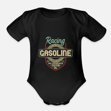 Motor Race Racing Gasoline Motor Oil - Organic Short Sleeve Baby Bodysuit