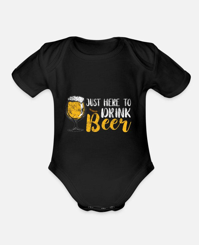 Drink Team Baby One Pieces - drink beer beer - Organic Short-Sleeved Baby Bodysuit black