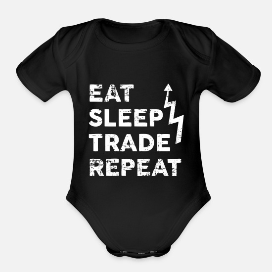 Stock Market Baby Clothing - day trading bull market stock market gift share - Organic Short-Sleeved Baby Bodysuit black