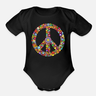 Peace Peace sign peace - Organic Short-Sleeved Baby Bodysuit