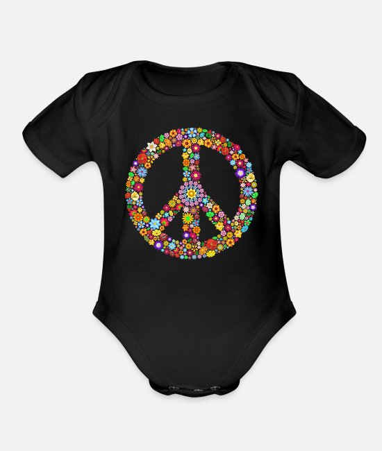 Movement Baby One Pieces - Peace sign peace - Organic Short-Sleeved Baby Bodysuit black