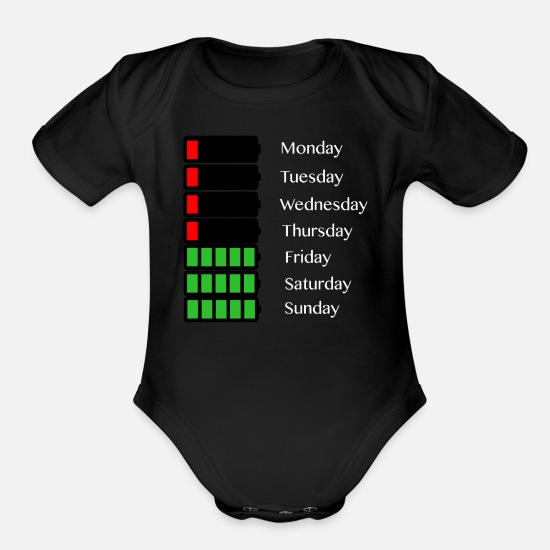 Days Of The Week Baby Clothing - Loading bar day of the week - Organic Short-Sleeved Baby Bodysuit black