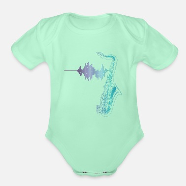 Wind Saxophone Heartbeat Musical Instrument Music Gift - Organic Short-Sleeved Baby Bodysuit