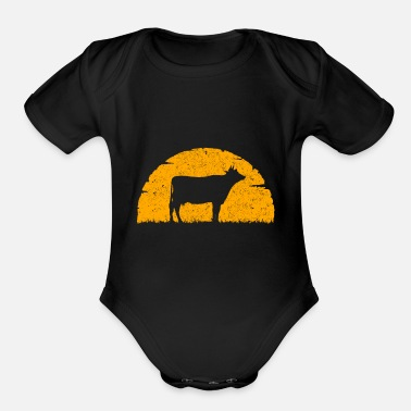 Day Cow Silhouette Animal Present Gift Idea T-Shirt - Organic Short-Sleeved Baby Bodysuit