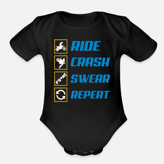 Motorsport Baby Clothing - motocross swearing - Organic Short-Sleeved Baby Bodysuit black