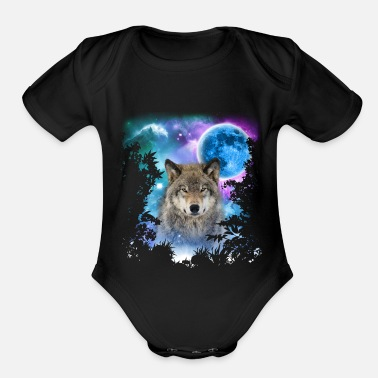 Wolf Timber Wolf MidNight Forest - Organic Short-Sleeved Baby Bodysuit