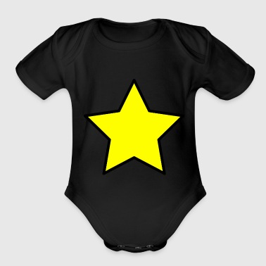 Yellow star - Organic Short Sleeve Baby Bodysuit