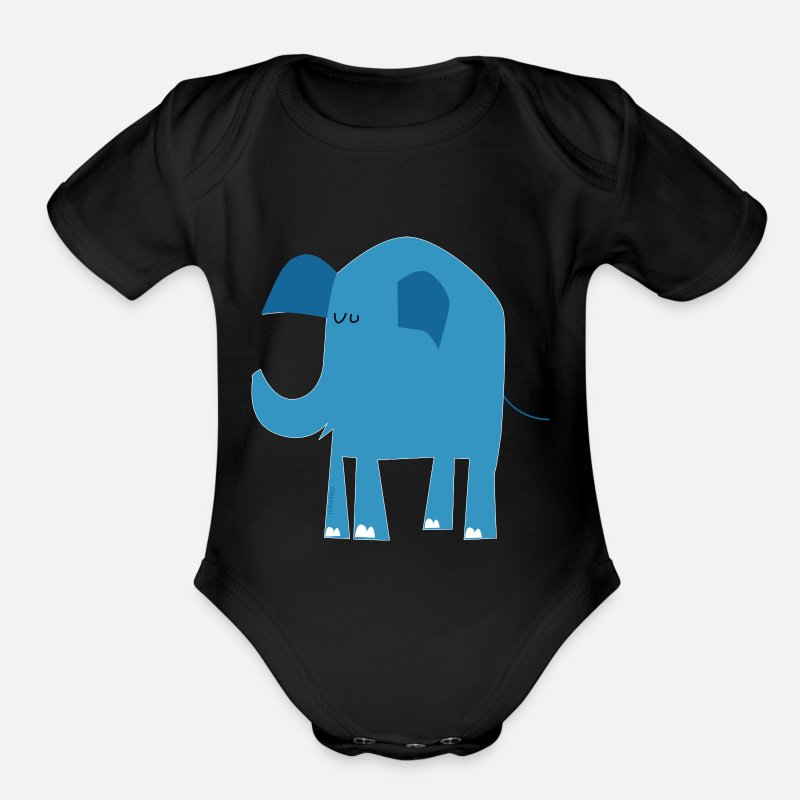 Baby Shower Baby Clothing - blue elephant - Short-Sleeved Baby Bodysuit black
