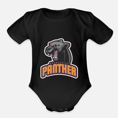 Aggressive Aggressive Panther - Organic Short-Sleeved Baby Bodysuit