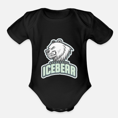 Aggressive aggressive icebear - Organic Short-Sleeved Baby Bodysuit