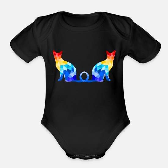 Special Baby Clothing - rainbow cat - Organic Short-Sleeved Baby Bodysuit black