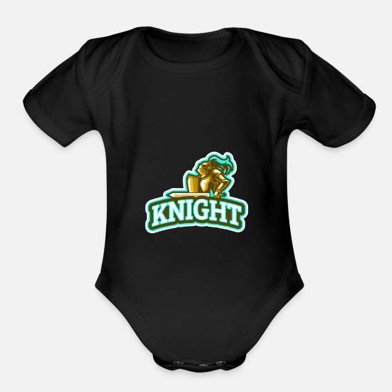 Strong Baby Clothing - knight - Organic Short-Sleeved Baby Bodysuit black