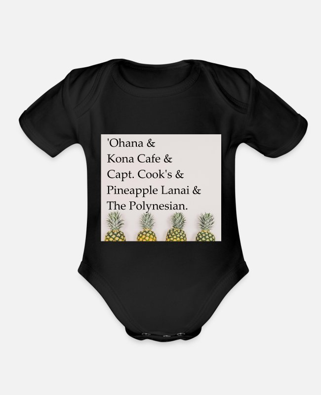 Hollywood Baby One Pieces - Polynesian Resort - Organic Short-Sleeved Baby Bodysuit black