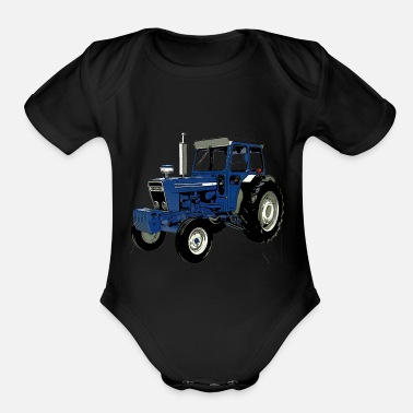 Ford Old Ford Tractor Blue - Organic Short Sleeve Baby Bodysuit