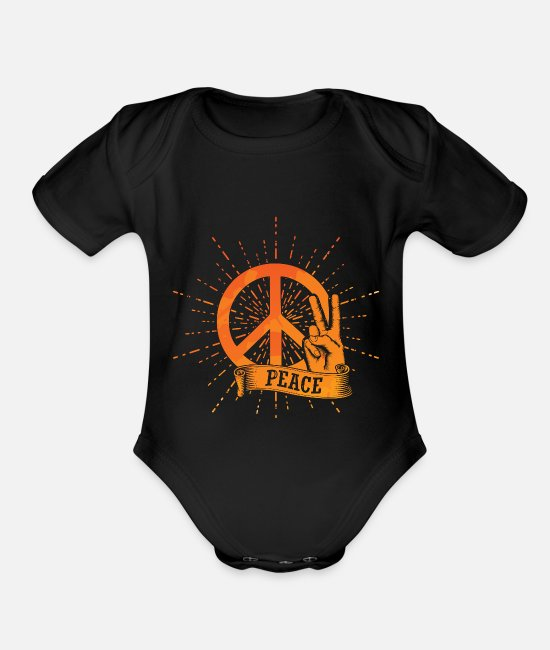 Lover Baby One Pieces - peace - Organic Short-Sleeved Baby Bodysuit black